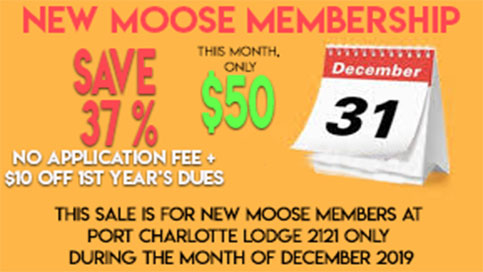 Moose Membership December Price Reduction